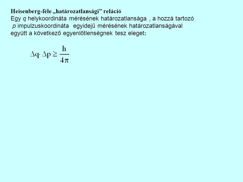 """Heisenberg-féle """"határozatlansági reláció Egy q helykoordináta mérésének határozatlansága, a hozzá tartozó p impulzuskoordináta egyidejű mérésének határozatlanságával együtt a következő egyenlőtlenségnek tesz eleget :"""