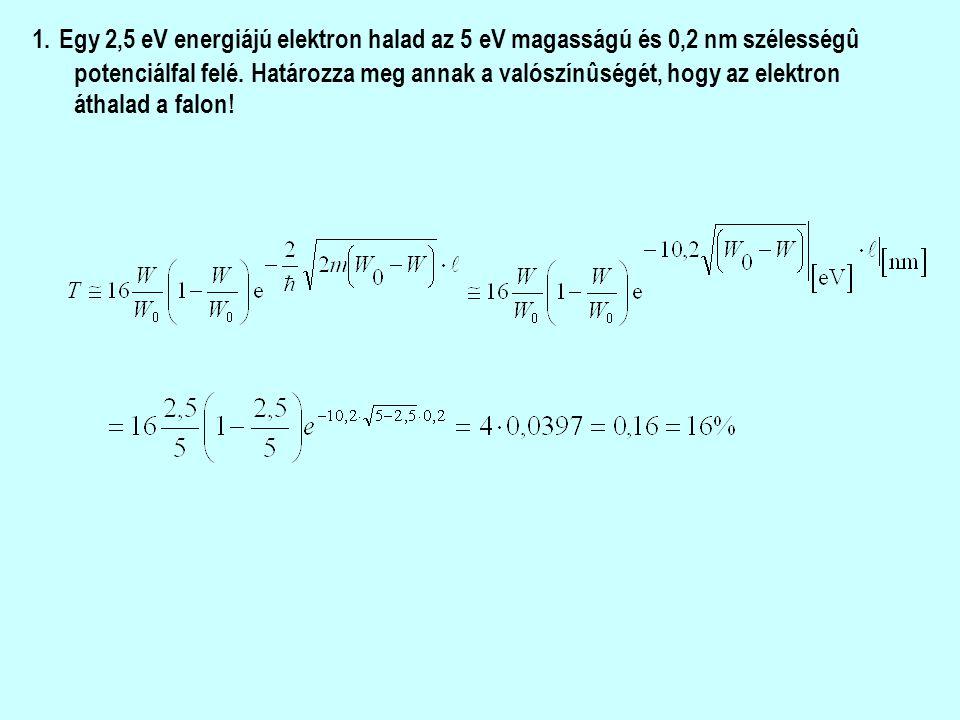 1. Egy 2,5 eV energiájú elektron halad az 5 eV magasságú és 0,2 nm szélességû potenciálfal felé.