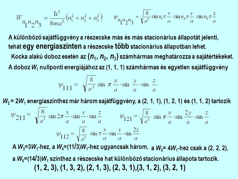 A különböző sajátfüggvény a részecske más és más stacionárius állapotát jelenti, tehát egy energiaszinten a részecske több stacionárius állapotban lehet.