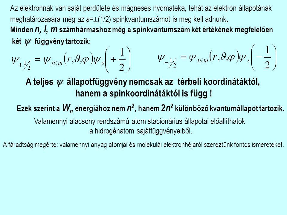 Az elektronnak van saját perdülete és mágneses nyomatéka, tehát az elektron állapotának meghatározására még az s =  (1/2) spinkvantumszámot is meg kell adnunk.