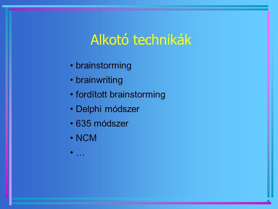 Alkotó technikák brainstorming brainwriting fordított brainstorming Delphi módszer 635 módszer NCM …