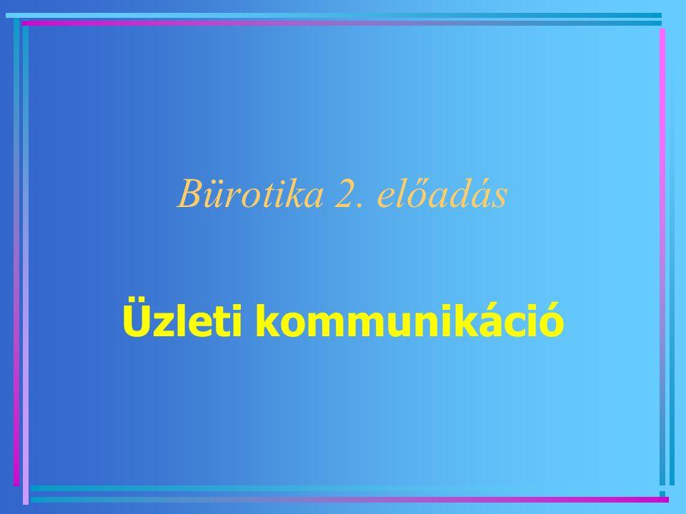 Bürotika 2. előadás Üzleti kommunikáció