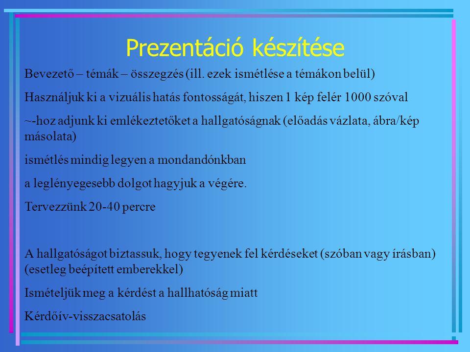 Prezentáció készítése Bevezető – témák – összegzés (ill. ezek ismétlése a témákon belül) Használjuk ki a vizuális hatás fontosságát, hiszen 1 kép felé