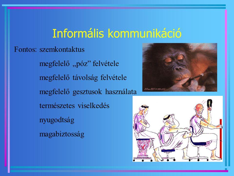 """Informális kommunikáció Fontos: szemkontaktus megfelelő """"póz"""" felvétele megfelelő távolság felvétele megfelelő gesztusok használata természetes viselk"""