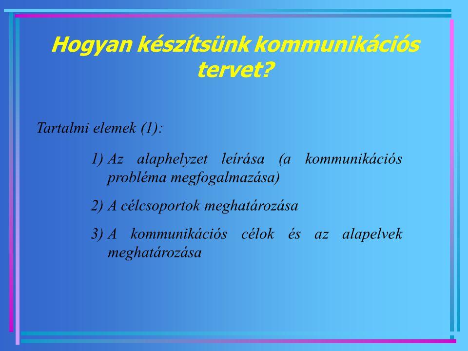 Hogyan készítsünk kommunikációs tervet? Tartalmi elemek (1): 1)Az alaphelyzet leírása (a kommunikációs probléma megfogalmazása) 2)A célcsoportok megha