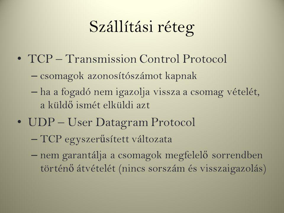 Szállítási réteg TCP – Transmission Control Protocol – csomagok azonosítószámot kapnak – ha a fogadó nem igazolja vissza a csomag vételét, a küld ő is