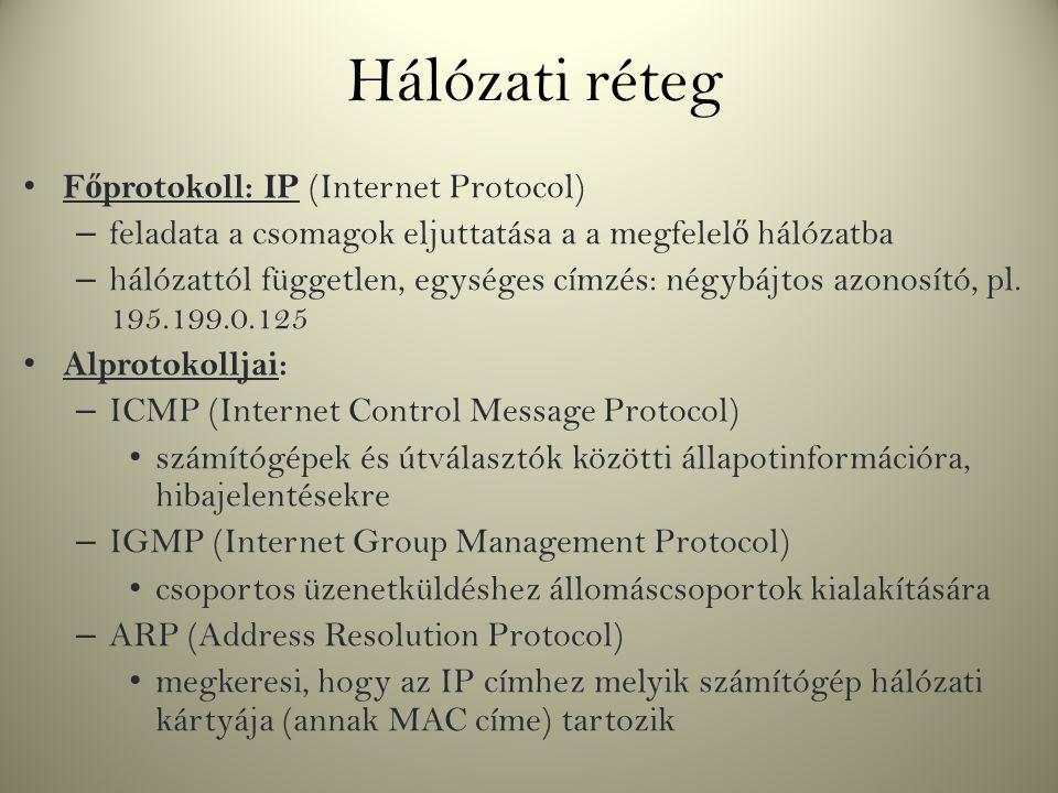 Hálózati réteg F ő protokoll: IP (Internet Protocol) – feladata a csomagok eljuttatása a a megfelel ő hálózatba – hálózattól független, egységes címzé