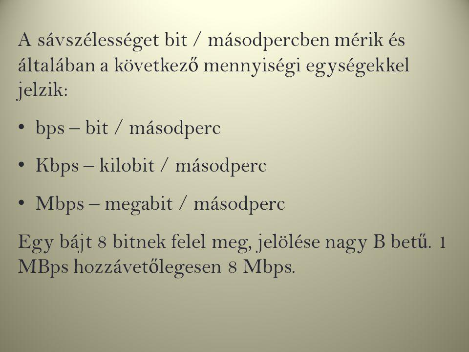A sávszélességet bit / másodpercben mérik és általában a következ ő mennyiségi egységekkel jelzik: bps – bit / másodperc Kbps – kilobit / másodperc Mb