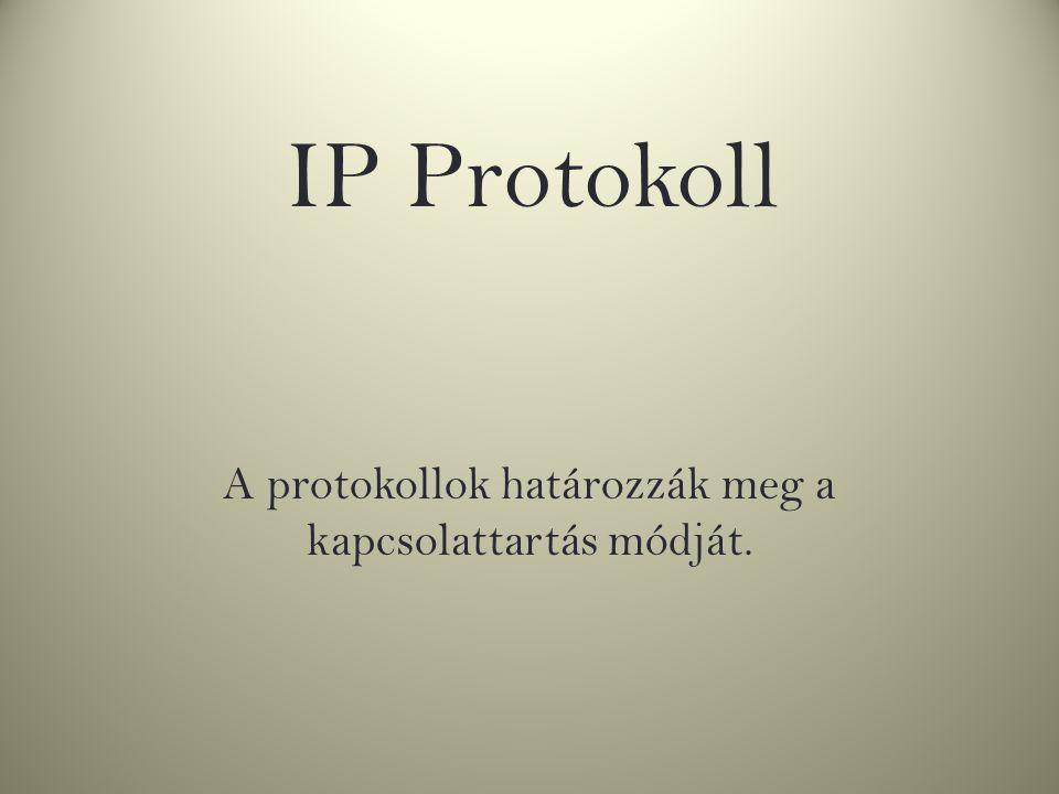 A protokollok határozzák meg a kapcsolattartás módját. IP Protokoll