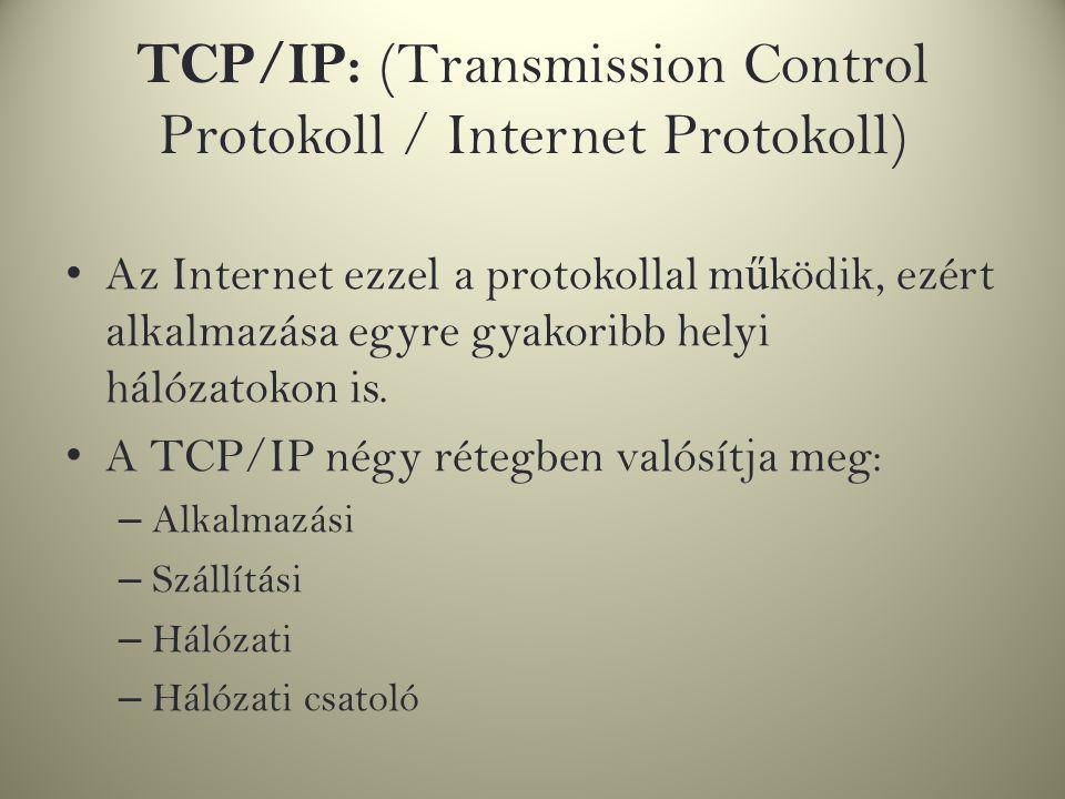 TCP/IP: (Transmission Control Protokoll / Internet Protokoll) Az Internet ezzel a protokollal m ű ködik, ezért alkalmazása egyre gyakoribb helyi hálóz