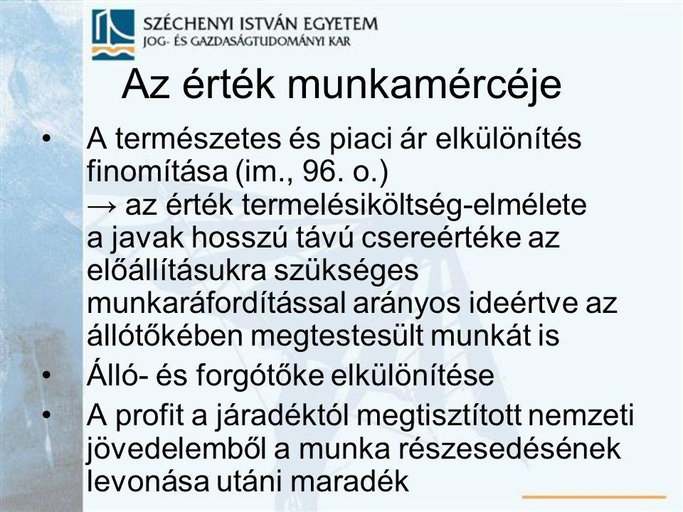 Az érték munkamércéje A természetes és piaci ár elkülönítés finomítása (im., 96.