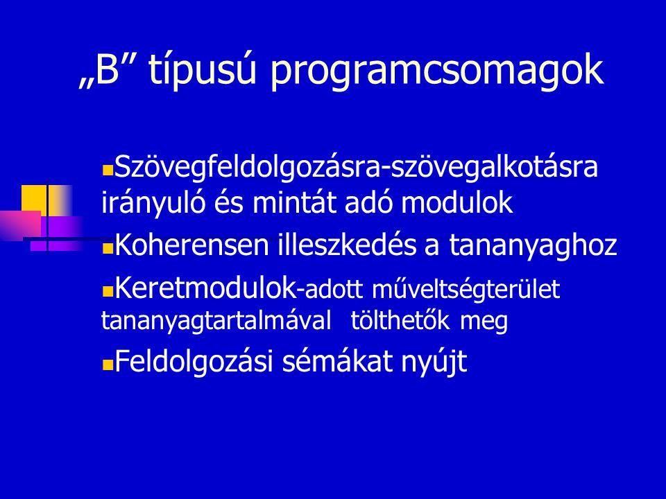 """""""B"""" típusú programcsomagok Szövegfeldolgozásra-szövegalkotásra irányuló és mintát adó modulok Koherensen illeszkedés a tananyaghoz Keretmodulok -adott"""
