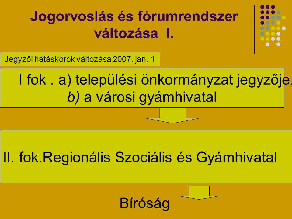 Jogorvoslás és fórumrendszer változása I. Bíróság. I fok. a) települési önkormányzat jegyzője, b) a városi gyámhivatal II. fok.Regionális Szociális és