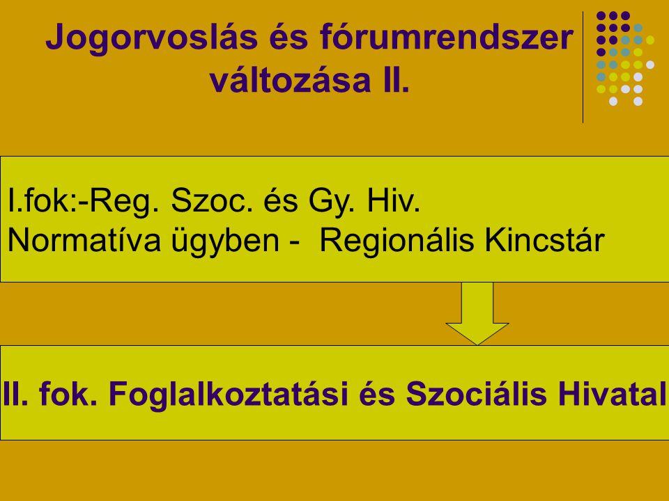 Jogorvoslás és fórumrendszer változása II. I.fok:-Reg. Szoc. és Gy. Hiv. Normatíva ügyben - Regionális Kincstár II. fok. Foglalkoztatási és Szociális