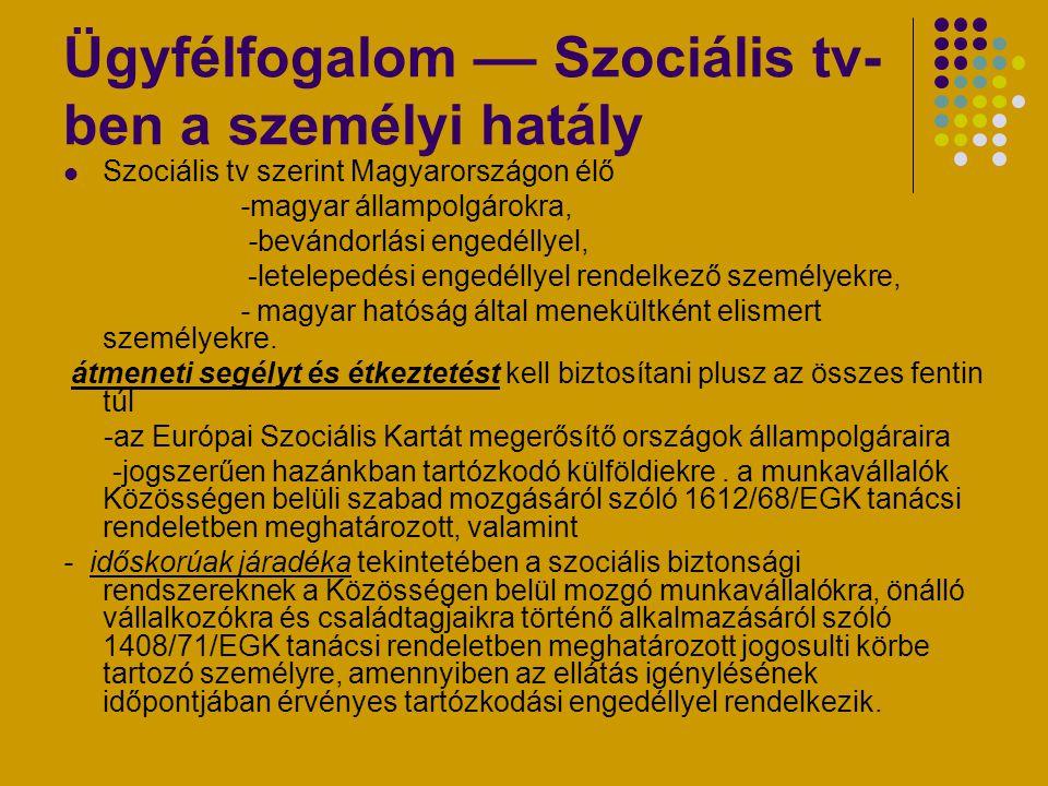 Ügyfélfogalom –– Szociális tv- ben a személyi hatály Szociális tv szerint Magyarországon élő -magyar állampolgárokra, -bevándorlási engedéllyel, -lete