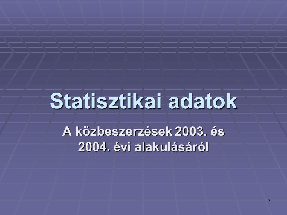 3 Statisztikai adatok A közbeszerzések 2003. és 2004. évi alakulásáról