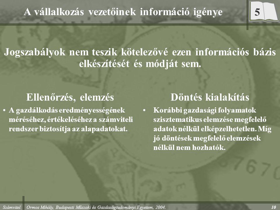 Számvitel Ormos Mihály, Budapesti Műszaki és Gazdaságtudományi Egyetem, 2004.