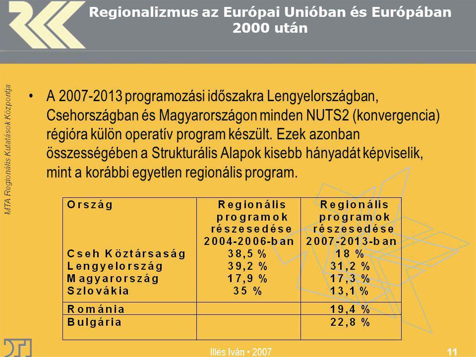 MTA Regionális Kutatások Központja Illés Iván 2007 11 Regionalizmus az Európai Unióban és Európában 2000 után A 2007-2013 programozási időszakra Lengyelországban, Csehországban és Magyarországon minden NUTS2 (konvergencia) régióra külön operatív program készült.