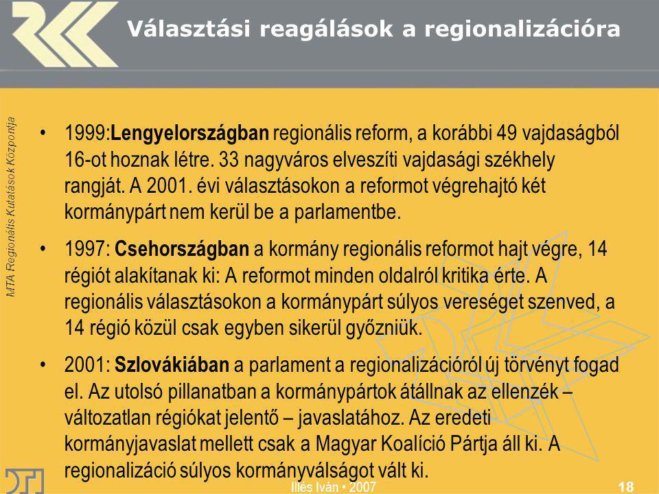 MTA Regionális Kutatások Központja Illés Iván 2007 18 Választási reagálások a regionalizációra 1999: Lengyelországban regionális reform, a korábbi 49 vajdaságból 16-ot hoznak létre.