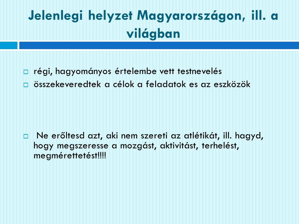 Jelenlegi helyzet Magyarországon, ill. a világban  régi, hagyományos értelembe vett testnevelés  összekeveredtek a célok a feladatok es az eszközök
