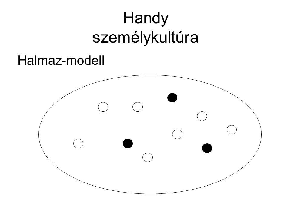 Handy személykultúra Pontok laza halmazával jellemezhető ez a szervezet A fókuszban az egyén áll (+)