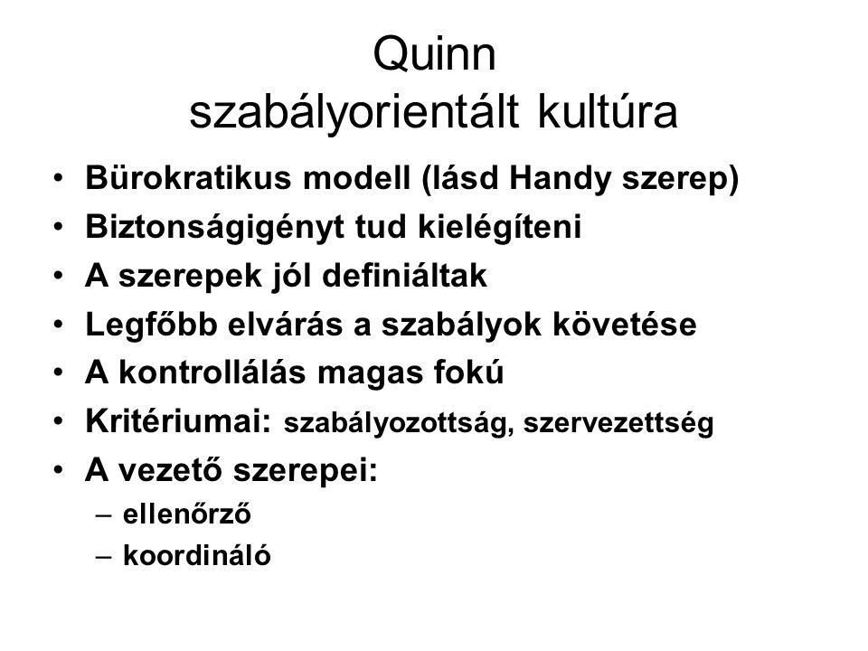 Quinn célorientált, teljesítmény-központú kultúra A szervezetet közgazdasági szempontból vizsgálja Hangsúly az eredményességen Feladatok célok tisztázottak Magas fokú kontroll Kritériumai: eredményesség, hatékonyság Vezető szerepei: –irányítás –feladatorientáció