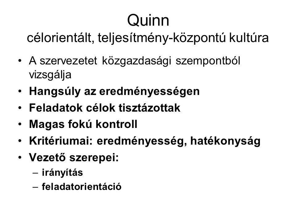 Quinn innovatív kultúra Erőssége a rugalmasság, cselekvőképesség Hangsúly a kreativitáson, a kockázatvállaláson Az információ szabadon áramlik Ellenőrzés alig, lelkesítés nagyon A fejlődés iránti szükségleltet tudja kielégíteni Kritériumai: innováció, fejlesztés Vezető szerepei: –újító –képviselő