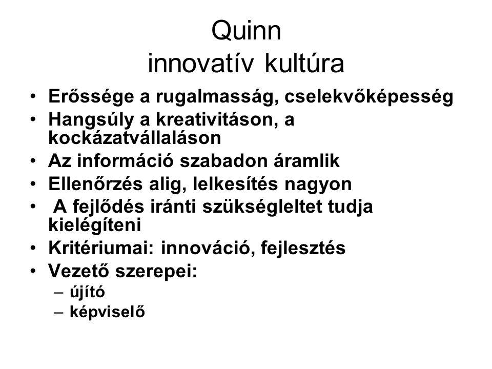 Quinn csapat, személyorientált kultúra Hangsúly az egyetértésen, összetartáson, az elkötelezettségen Fontos az információk megosztása, a döntéshozatalban való részvétel Ez a szervezeti kultúra a belső folyamatokra figyel Kritériumai: elköteleződés, részvétel Vezető szerepei: –csapatépítő –támogató
