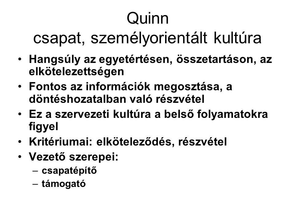 Quinn vezetői stílusok és szerepek rugalmasság Újító szerep Képviselő szerep Kifelé irányultság Feladatorientált szerep Irányító szerep kontrolláltság Ellenőrző szerep Befelé irányultság Koordináló szerep Csapatépítő szerep Támogató szerep Személyorientált stílus Konzervatív stílus Fejlesztő stílus Célorientált stílus