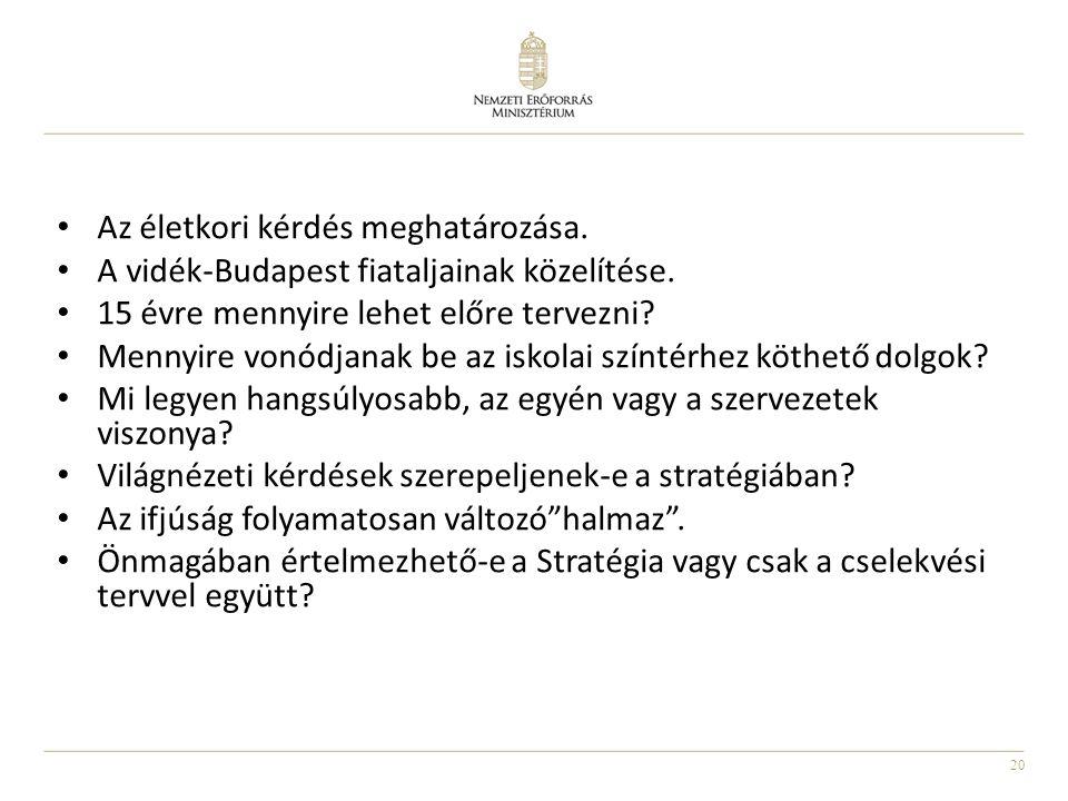20 Az életkori kérdés meghatározása. A vidék-Budapest fiataljainak közelítése. 15 évre mennyire lehet előre tervezni? Mennyire vonódjanak be az iskola