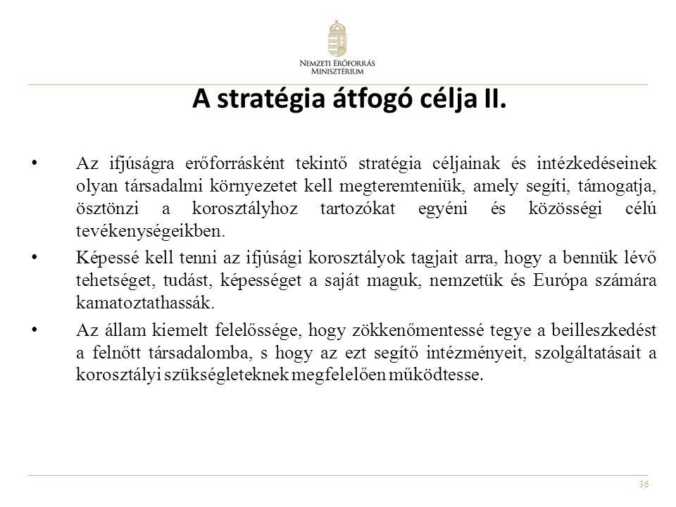 36 A stratégia átfogó célja II. Az ifjúságra erőforrásként tekintő stratégia céljainak és intézkedéseinek olyan társadalmi környezetet kell megteremte