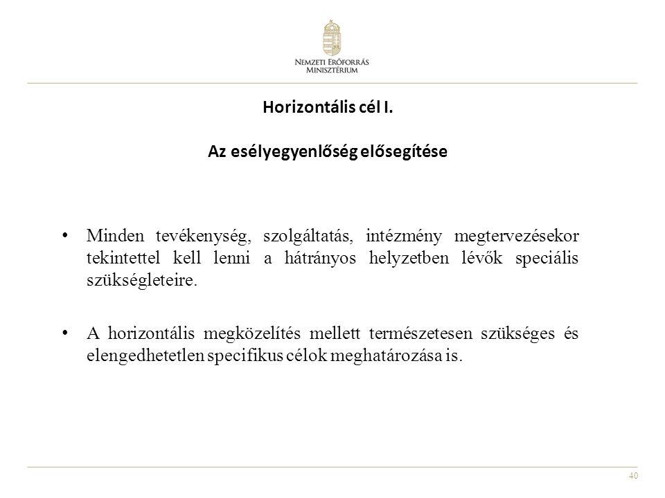 40 Horizontális cél I. Az esélyegyenlőség elősegítése Minden tevékenység, szolgáltatás, intézmény megtervezésekor tekintettel kell lenni a hátrányos h