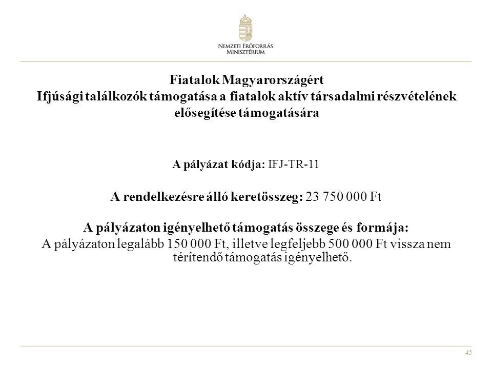 45 Fiatalok Magyarországért Ifjúsági találkozók támogatása a fiatalok aktív társadalmi részvételének elősegítése támogatására A pályázat kódja: IFJ-TR-11 A rendelkezésre álló keretösszeg: 23 750 000 Ft A pályázaton igényelhető támogatás összege és formája: A pályázaton legalább 150 000 Ft, illetve legfeljebb 500 000 Ft vissza nem térítendő támogatás igényelhető.