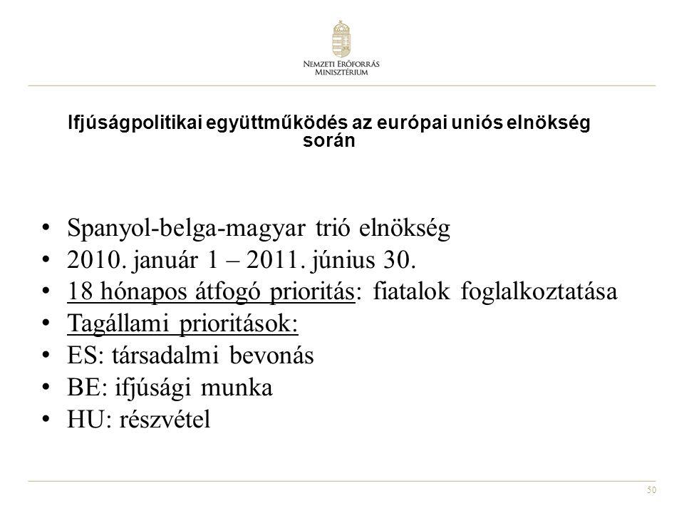 50 Spanyol-belga-magyar trió elnökség 2010. január 1 – 2011. június 30. 18 hónapos átfogó prioritás: fiatalok foglalkoztatása Tagállami prioritások: E