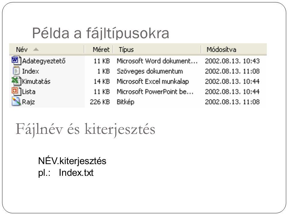 Példa a fájltípusokra NÉV.kiterjesztés pl.: Index.txt Fájlnév és kiterjesztés