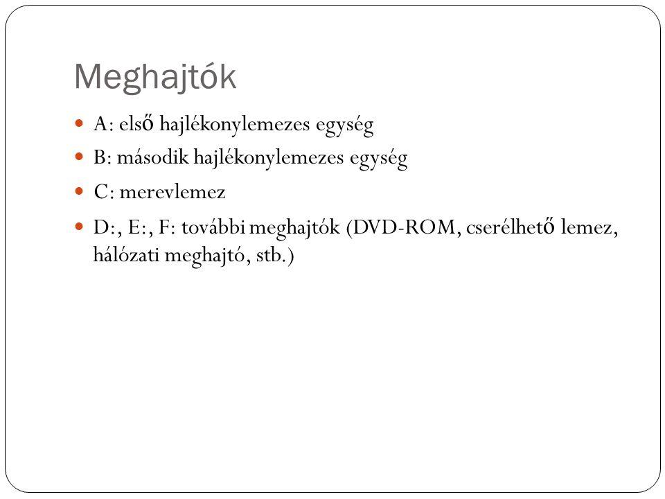 Meghajtók A: els ő hajlékonylemezes egység B: második hajlékonylemezes egység C: merevlemez D:, E:, F: további meghajtók (DVD-ROM, cserélhet ő lemez, hálózati meghajtó, stb.)