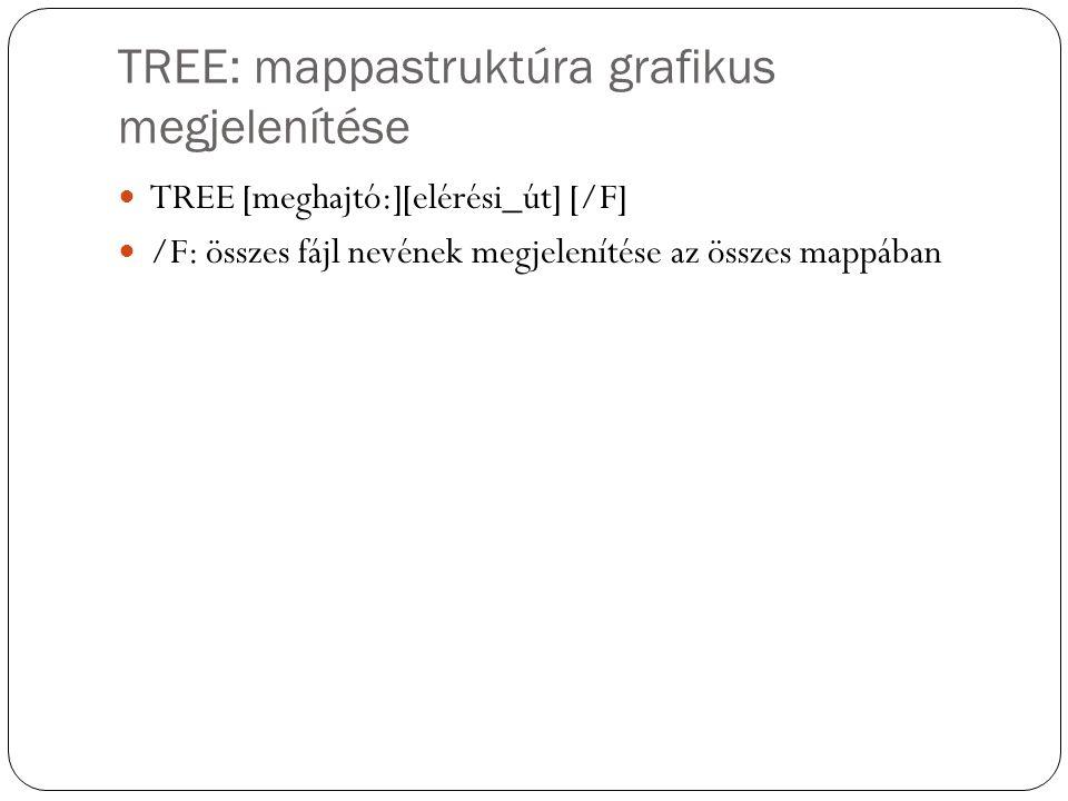 TREE: mappastruktúra grafikus megjelenítése TREE [meghajtó:][elérési_út] [/F] /F: összes fájl nevének megjelenítése az összes mappában