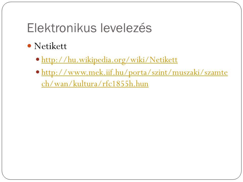 Elektronikus levelezés Netikett http://hu.wikipedia.org/wiki/Netikett http://www.mek.iif.hu/porta/szint/muszaki/szamte ch/wan/kultura/rfc1855h.hun htt