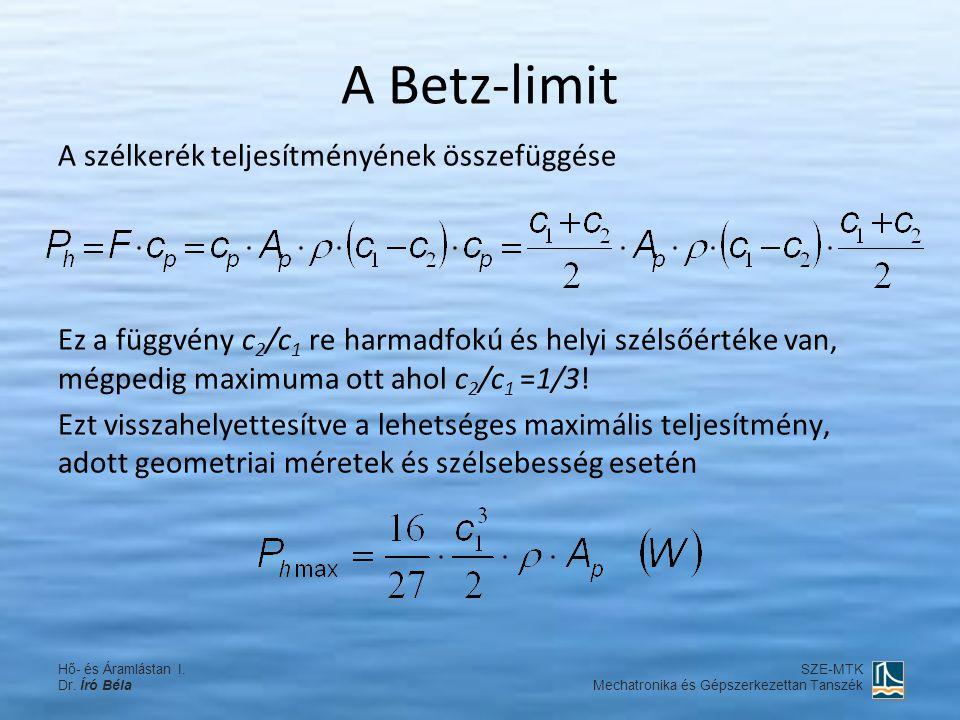A Betz-limit A szélkerék teljesítményének összefüggése Ez a függvény c 2 /c 1 re harmadfokú és helyi szélsőértéke van, mégpedig maximuma ott ahol c 2 /c 1 =1/3.