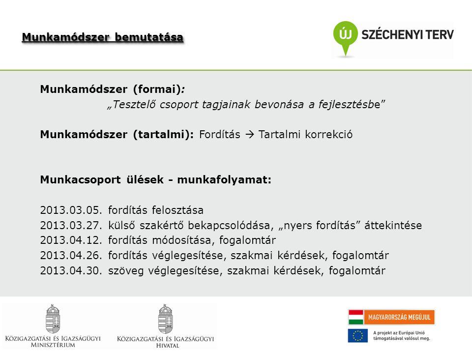 """Munkamódszer (formai): """"Tesztelő csoport tagjainak bevonása a fejlesztésbe Munkamódszer (tartalmi): Fordítás  Tartalmi korrekció Munkacsoport ülések - munkafolyamat: 2013.03.05."""