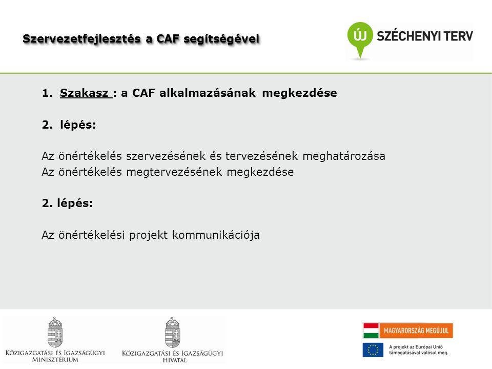 1.Szakasz : a CAF alkalmazásának megkezdése 2.lépés: Az önértékelés szervezésének és tervezésének meghatározása Az önértékelés megtervezésének megkezdése 2.