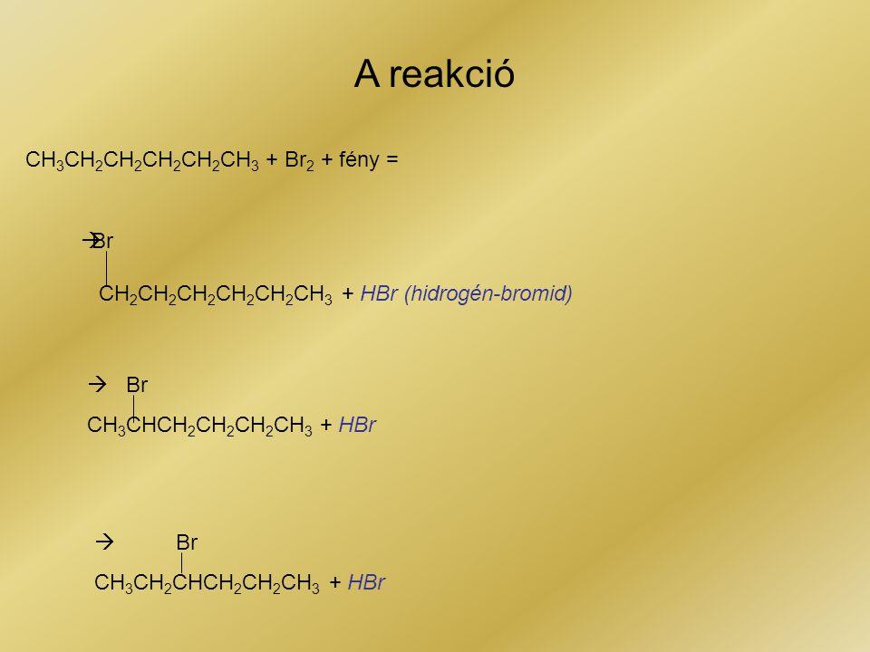 CH 3 CH 2 CH 2 CH 2 CH 2 CH 3 + Br 2 + fény =  Br CH 2 CH 2 CH 2 CH 2 CH 2 CH 3 + HBr (hidrogén-bromid)  Br CH 3 CHCH 2 CH 2 CH 2 CH 3 + HBr  Br CH