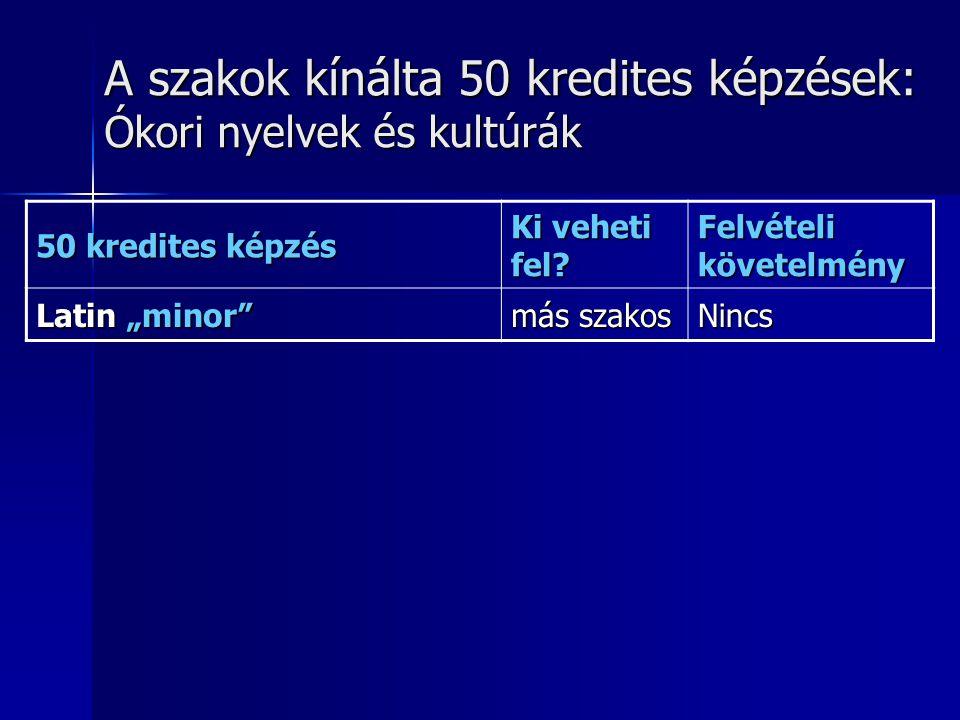 A szakok kínálta 50 kredites képzések: Ókori nyelvek és kultúrák 50 kredites képzés Ki veheti fel.