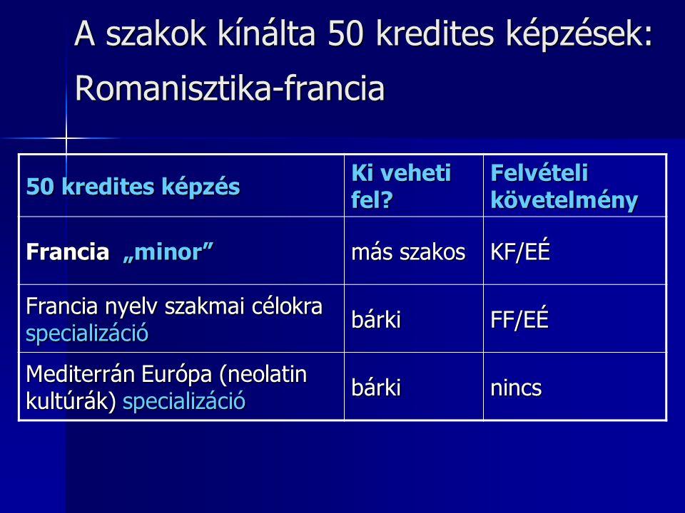 A szakok kínálta 50 kredites képzések: Romanisztika-francia 50 kredites képzés Ki veheti fel.