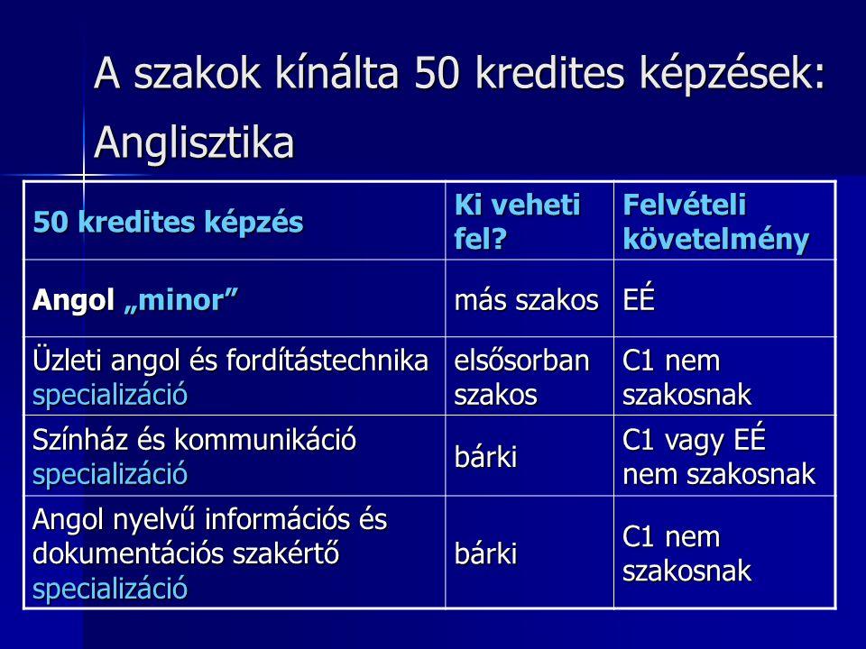 A szakok kínálta 50 kredites képzések: Germanisztika-német 50 kredites képzés Ki veheti fel.