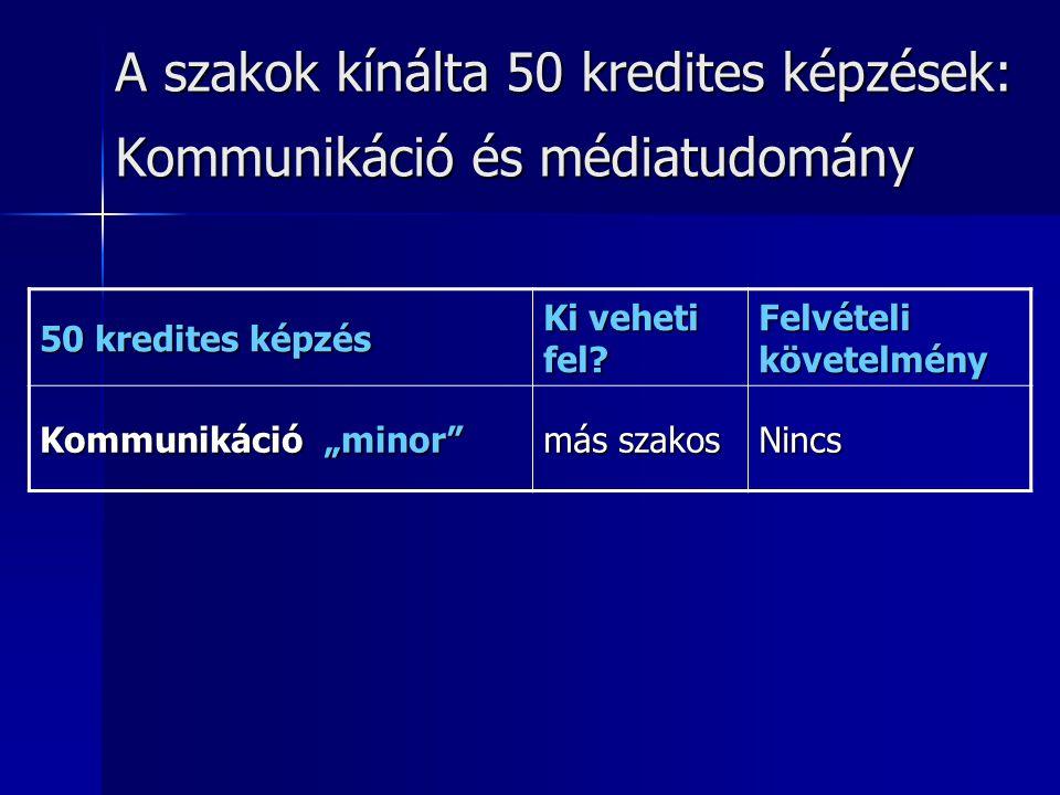 A szakok kínálta 50 kredites képzések: Kommunikáció és médiatudomány 50 kredites képzés Ki veheti fel.