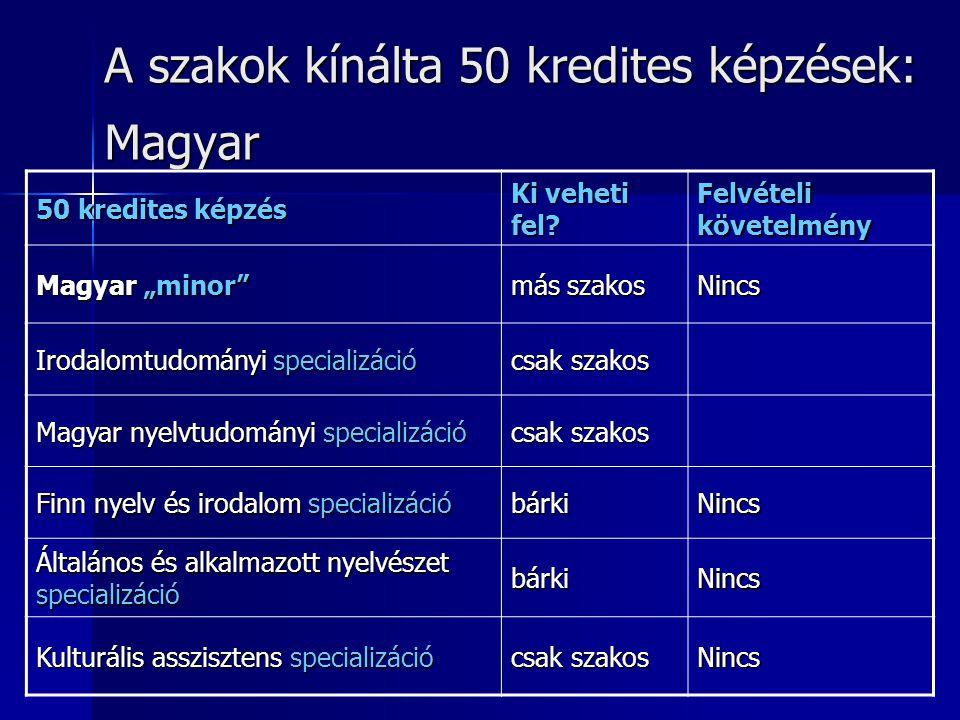 A szakok kínálta 50 kredites képzések: Magyar 50 kredites képzés Ki veheti fel.