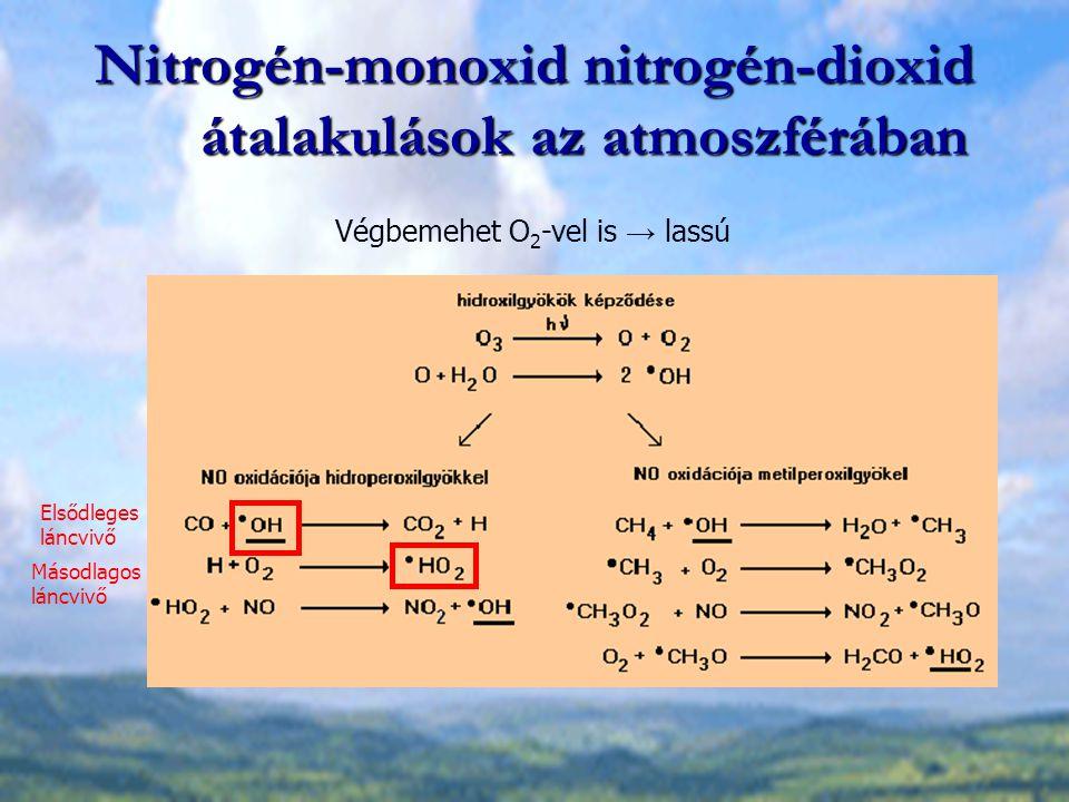 Nitrogén-monoxid nitrogén-dioxid átalakulások az atmoszférában Végbemehet O 2 -vel is → lassú Elsődleges láncvivő Másodlagos láncvivő