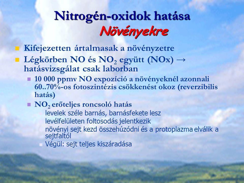 Nitrogén-oxidok hatása Növényekre Kifejezetten ártalmasak a növényzetre Légkörben NO és NO 2 együtt (NOx) → hatásvizsgálat csak laborban 10 000 ppmv N