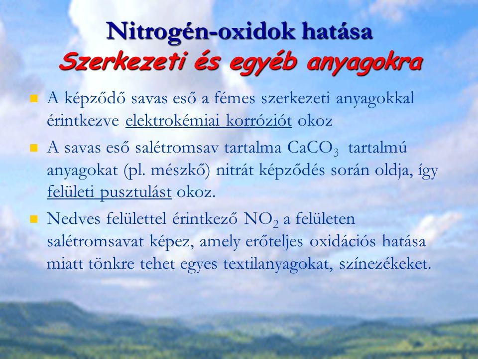 Nitrogén-oxidok hatása Szerkezeti és egyéb anyagokra A képződő savas eső a fémes szerkezeti anyagokkal érintkezve elektrokémiai korróziót okoz A savas
